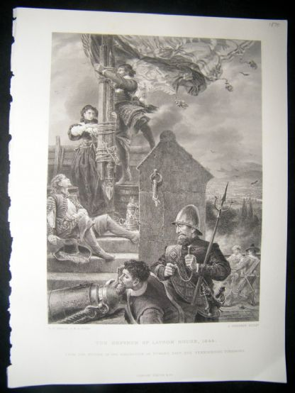 Military 1870 Steel Engraving. Defence of Lathom House | Albion Prints